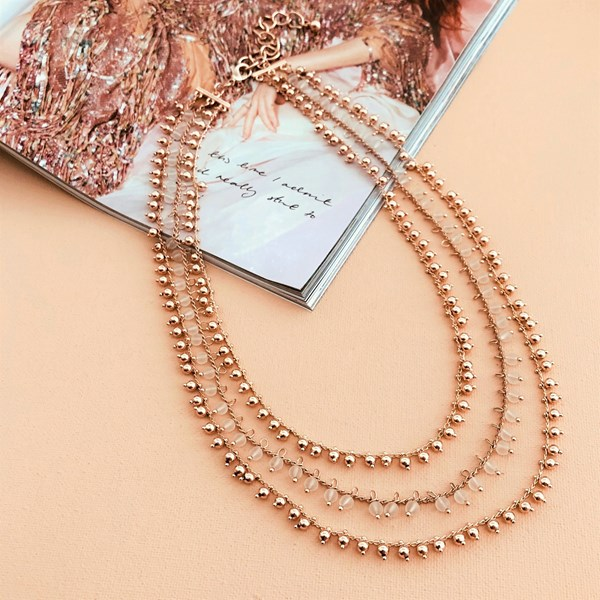 Pretty Layered Bead Ball Necklace