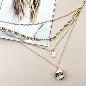Layered Chain Metal Stone Drop Necklace