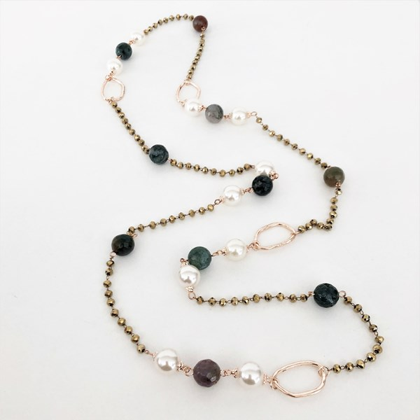 Stone & Pearl Interval Mix Long Necklace