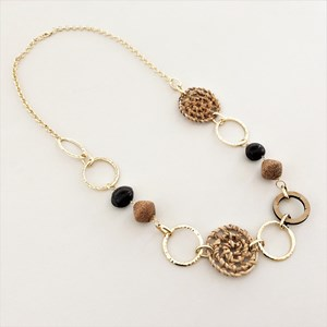 Rattan & Timber Mix Linked Rings Necklace