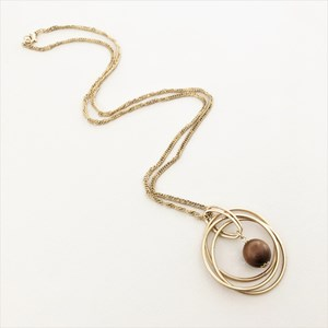 Timber Ball Metal Rings Pendant Necklace