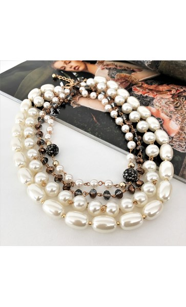 Four Strand Pearl & Crystal Mix Statement Necklace