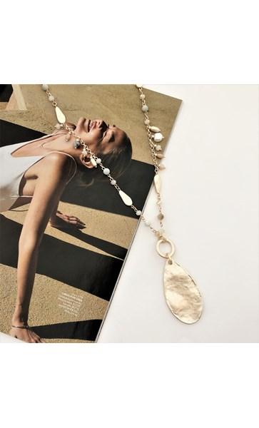 Hand Link Stone Mix Teardrop Pendant Necklace