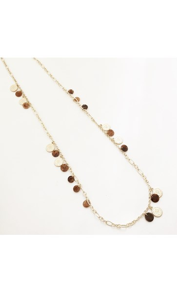 Beaten Metal & Resin Disks Long Necklace