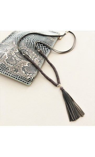Stacked Resin Leather Tassel Necklace