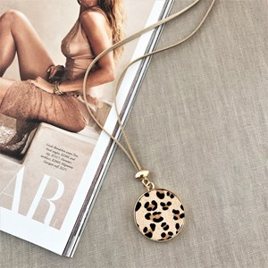 Hide Disk Pendant Long Leather Necklace