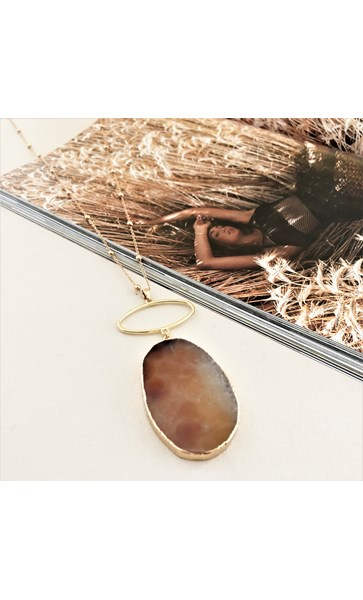 Boho Stone Pendant Metal Ring Chain Necklace