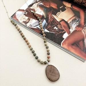 Stone Pendant & Balls Long Necklace