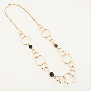 Stone &  Metal Rings Long Necklace