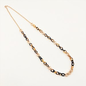 Fine Resin Metal Links Long Necklace