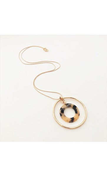 Resin Metal Ring Necklace