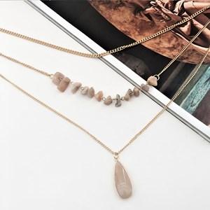 Layered Stone Teardrop Necklace