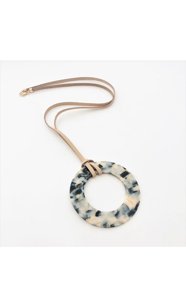 Resin Ring Long Leather Necklace