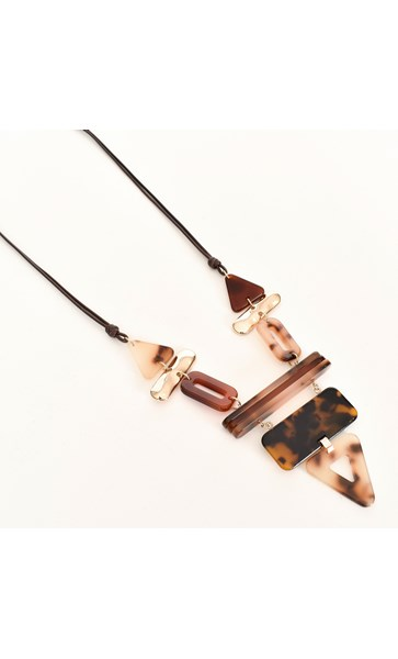 Geometric Resin Shapes Cord Necklace