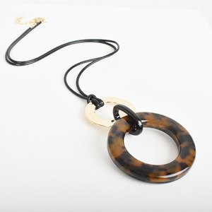 Resin & Moulded Metal Linked Cord Necklace