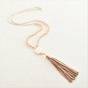 Knotted Bead Long Tassel Necklace