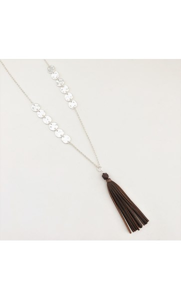 Metal Discs Long Tassel Necklace