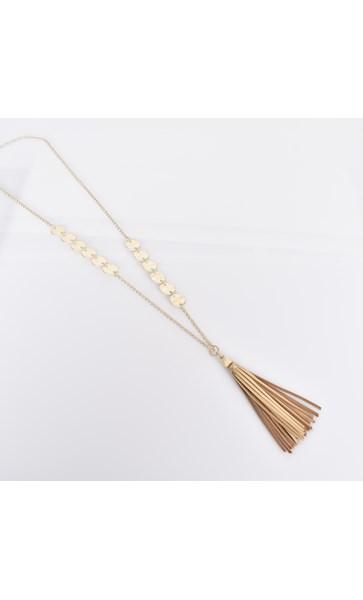 Metal Discs Long Tassel Necklace