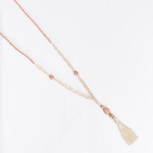 Stone Back Metal Tassel Necklace