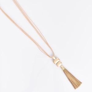 Cord Back Molten Metal Tassel Necklace