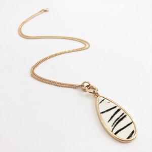 Zebra Print Hide Teardrop Pendant Necklace