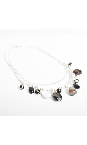 Stone Metal Short Layers Necklace