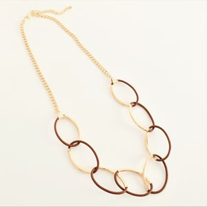 Leather Metal Ring Front Necklace