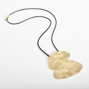 Pitted Disc Front Cord Necklace