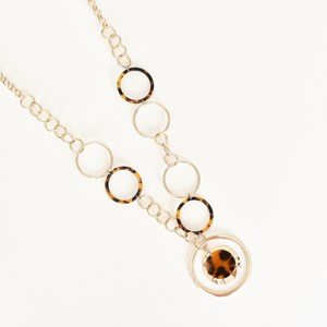Resin Metal Rings Long Necklace