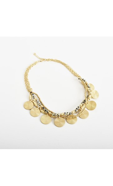 Short Disc Stone Front Necklace
