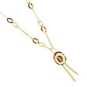 Long Metal Resin Pendant Necklace