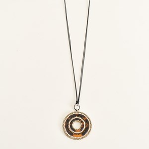 Diamante Edged Pendant Cord Necklace