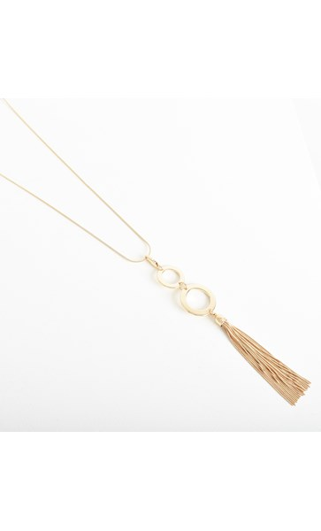 Double Ring Tassel Drop Necklace