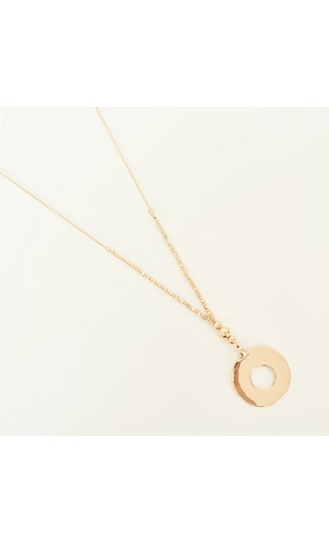 Ball Drop Polished Ring Drop Necklace