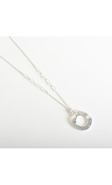Chain Detail Ring Drop Necklace