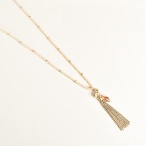 Facet Glass Long Tassel Necklace