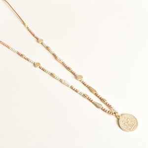 Cord Back Pearl Interval Coin Necklace