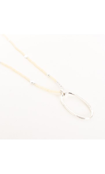 Oval Ring Drop Glass Bead Necklace