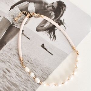 Leather Back Natural Pearl Necklace