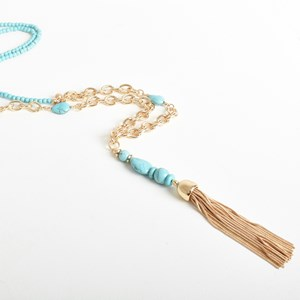 Stone Tassel Long Necklace