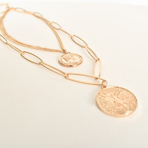 Freya Coin Charms Oval Chain Layer Necklace