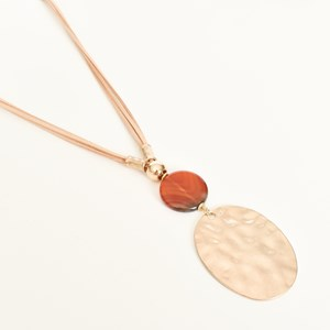 Beaten Oval Resin Disk Leather Necklace