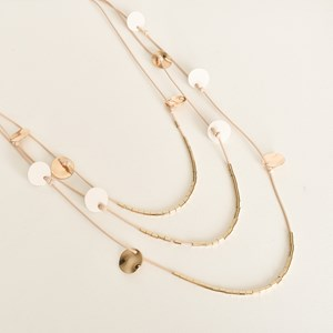 Light Leather Metal Disc Layers Necklace