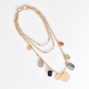 Layered Chain & Stone Necklace