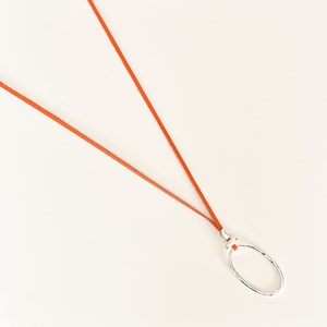 Oval Pendant Leather Adjustable Necklace