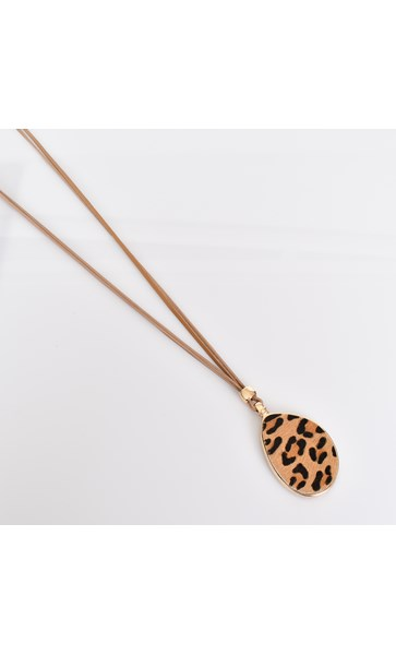 Hide Geo Pendant Leather Adjustable Necklace