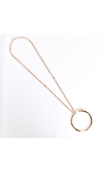 Beaten Ring Pendant Necklace
