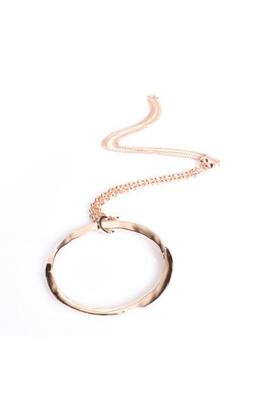 Beaten Ring Pendant Necklace