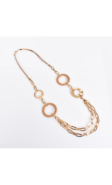 Rattan Linked Leather Necklace