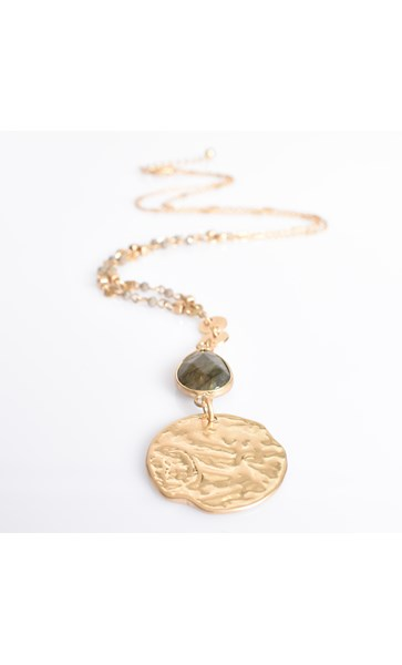 Stone Teardrop and Circle Pendant Necklace